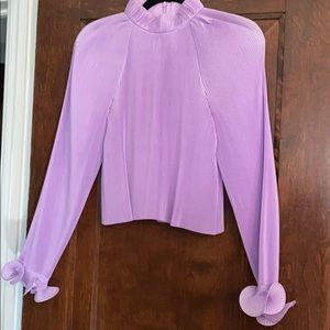 Tibi Lavender Pleated Crop Top Blouse